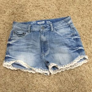 lace trim denim shorts